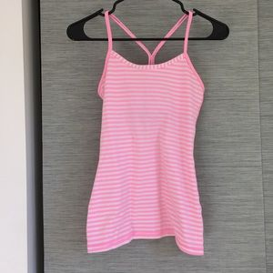 lululemon athletica Tops - Lululemon Pink and White Striped Power Y tank